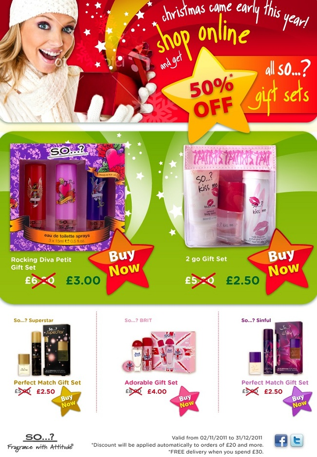 50% off Christmas promotion all So...? Fragrance