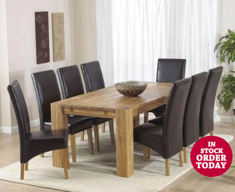 Madrid 200 Oak Table & Cannes Brown Chairs