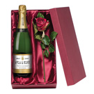 Personalised Cava and Silk Rose