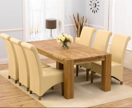 Madrid Oak 200cm Dining Table and Kentucky Cream Chairs