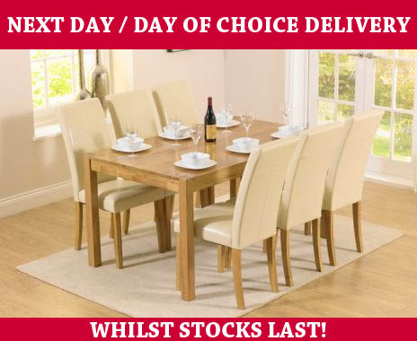 Oxford Oak Table U0026 Cream Dining Chairs