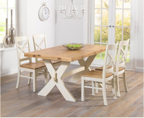 Bordeaux All-Sides Extending Oak & Cream Dining Table