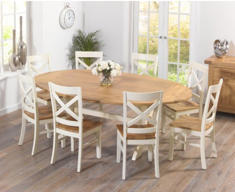 Bordeaux All-Sides Oak & Cream Extending Dining Table