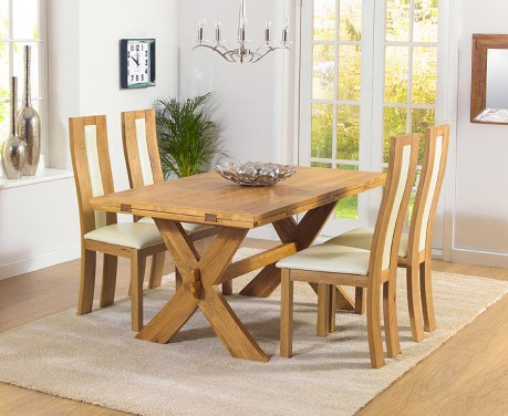 Bordeaux All-Sides Oak Extending Table & Toronto Cream Chairs