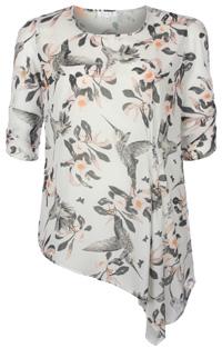 White Georgette Grey Bird Print Asymmetric Tunic