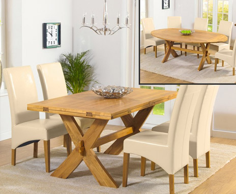 Bordeaux All-Sides Extending Table & Cream Chairs