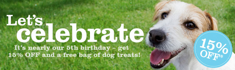 Get 15% off and free dog treats