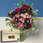 Popular Bouquet of Jersey Grown Flowers + Jersey Fudge , just £17.98