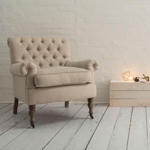 Windsor button-back armchair in oatmeal linen
