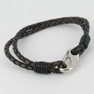 Mens Leather Plaited Bracelet