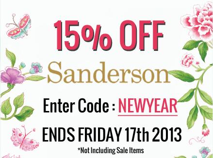 Sanderson 15 percent off