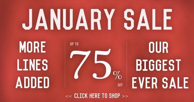 Jan Sale 75% Off