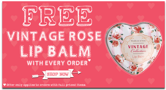 Free Vintage Rose Lip Balm with Every Order at Heathcote & Ivory