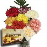 Mixed Carnations 10 Stems + Jersey Biscuits + FREE Milk Chocolate Hearts, just £14.98!
