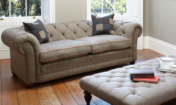 Orkney chesterfield sofa in Harris Tweed