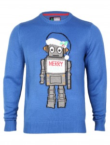 merry xmas robot jumper Blue 1A3049
