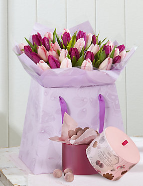 Mother's Day Large Tulip Gift Bag with Free Chocolates - LIMITED TIME ONLY