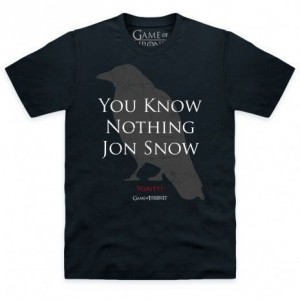 Official Game Of Thrones You Know Nothing Jon Snow Quote Organic T Shirt
