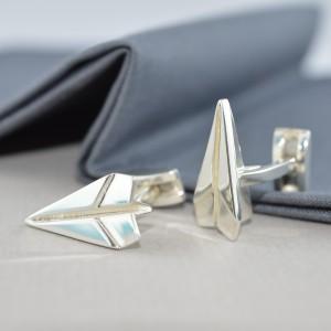 Paper Plane Cufflinks Silver CCSPP (3)