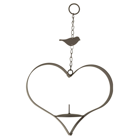 Metal fruit feeder in a heart shape with chain to hang.