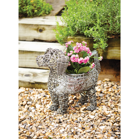 Rattan style dog design planter in grey - plant hole in the back of the dog