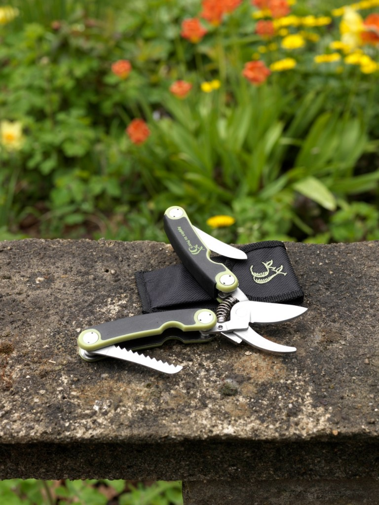 Black and green Folding Pocket Secateurs with silver tools