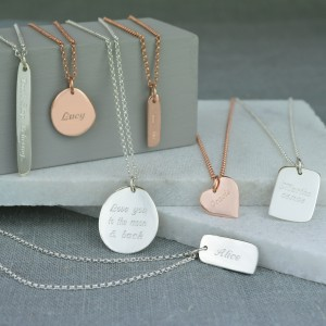 Lily Charmed engraved necklaces in rose gold and silver