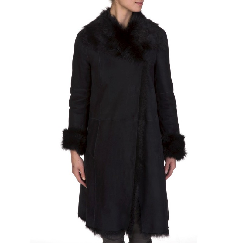 Joseph Navy Leather Fur Coat