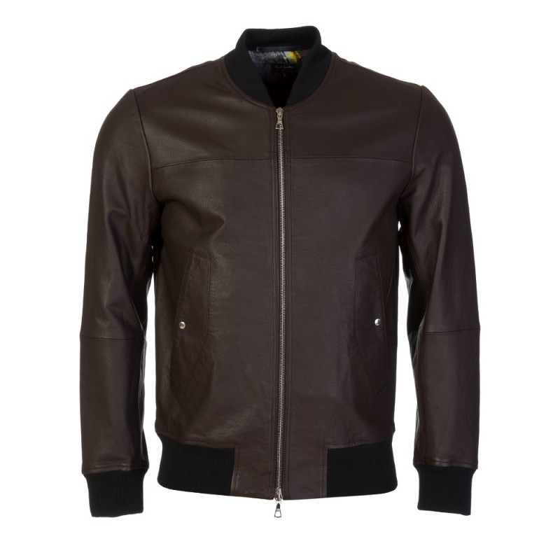 PS by Paul Smith Brown Leather Zip Bomber Jacket