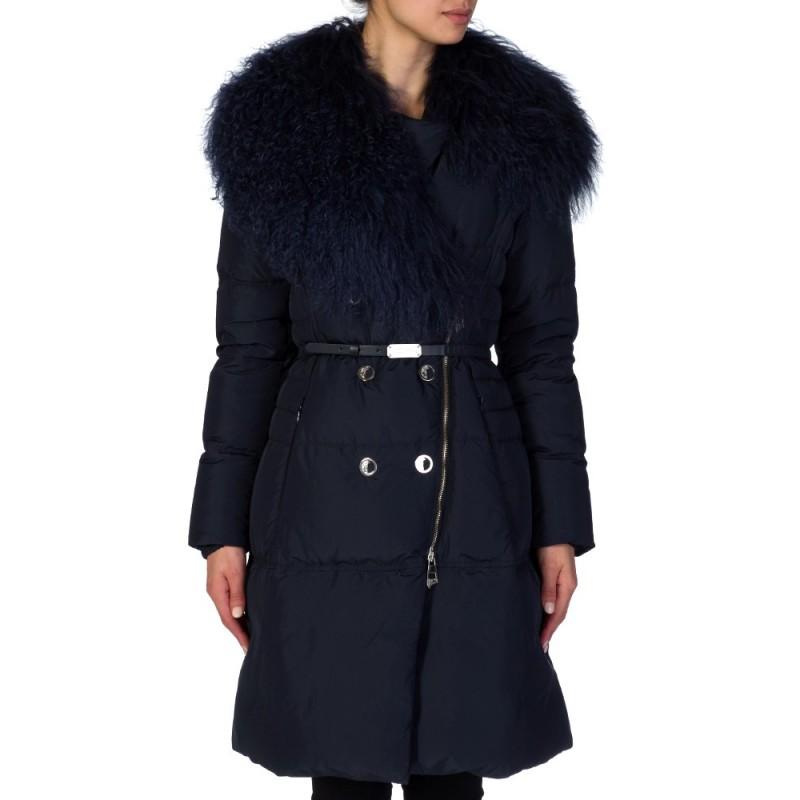 VERSACE COLLECTION NAVY DOWN FUR COAT