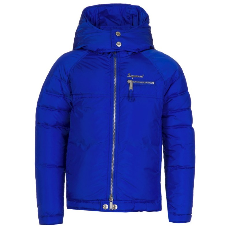 DSQUARED2 JUNIOR ROYAL BLUE DOWN HOODED JACKET