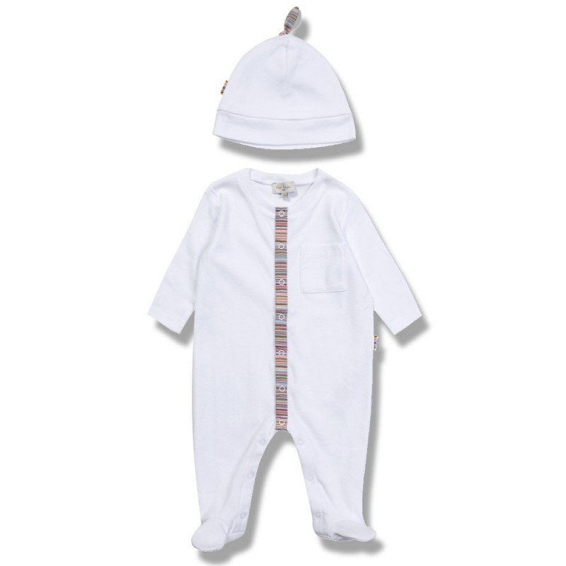 PAUL SMITH JUNIOR WHITE BABYGROW & HAT SET