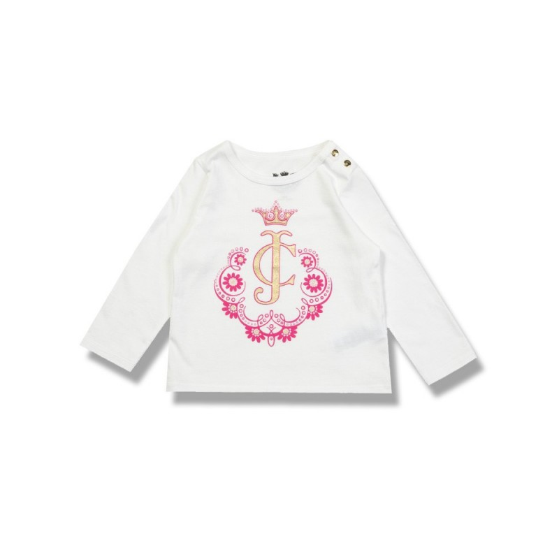 JUICY COUTURE JUNIOR WHITE LONG SLEEVE PRINT T-SHIRT