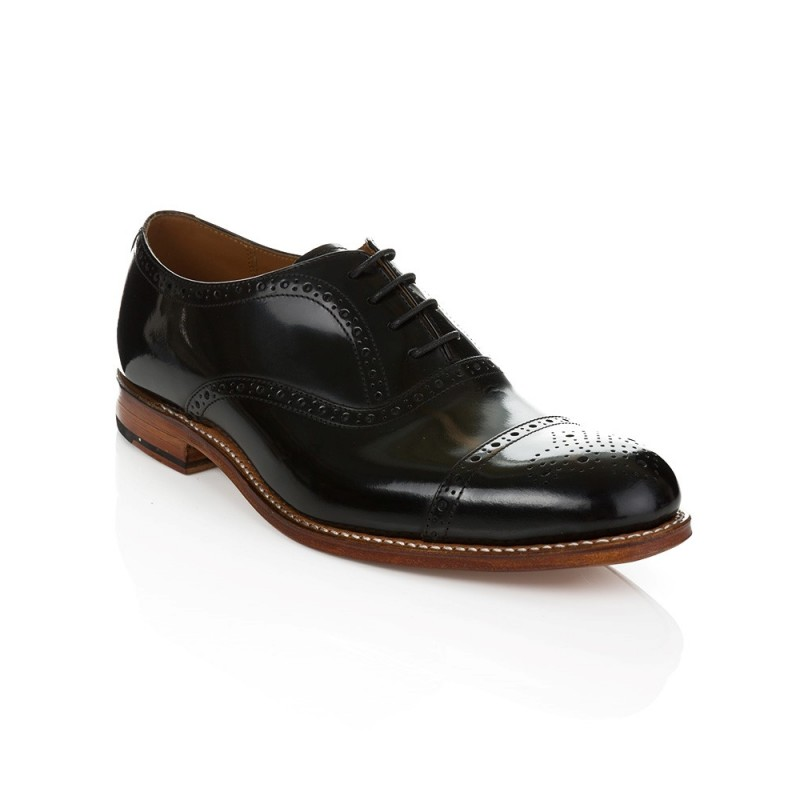 GRENSON BLACK MATTHEW BROGUE SHOE