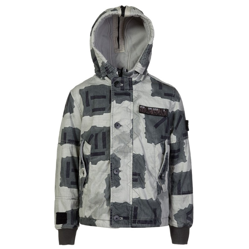 STONE ISLAND JUNIOR GREY CAMOUFLAGE WAX JACKET