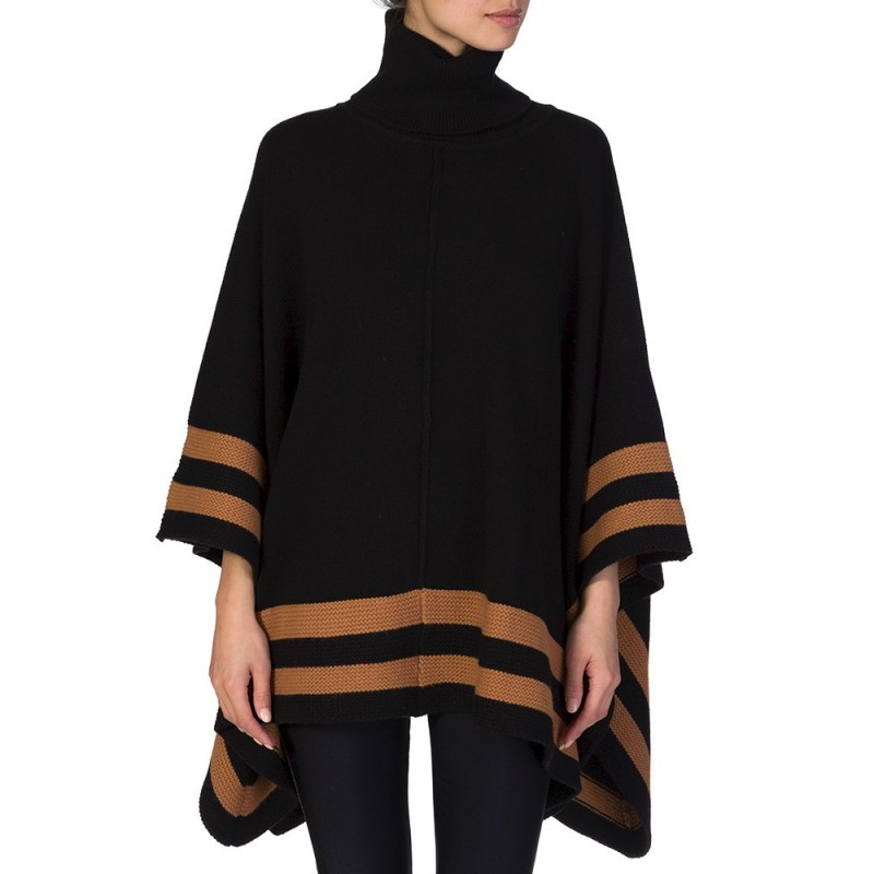PATRIZIA PEPE BLACK ROLL NECK PONCHO