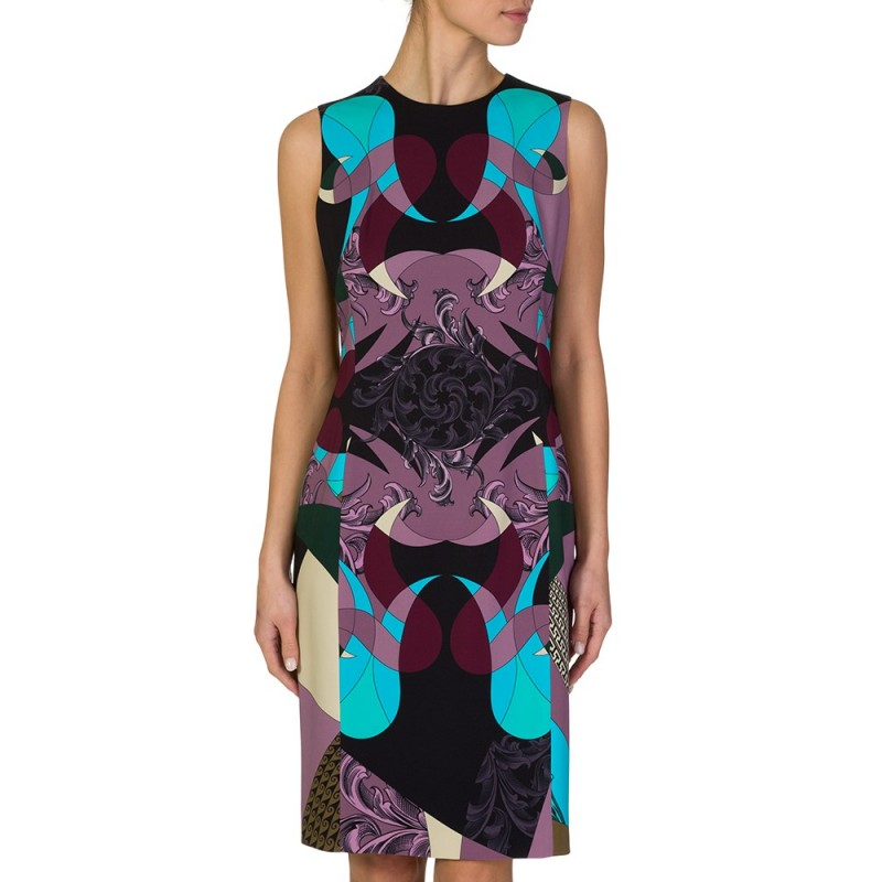 VERSACE COLLECTION BLACK MULTI PRINT BAROQUE DRESS