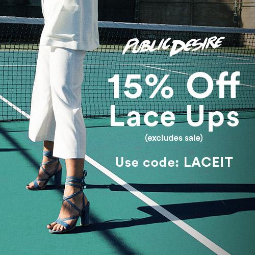 15 percent off lace ups public desire