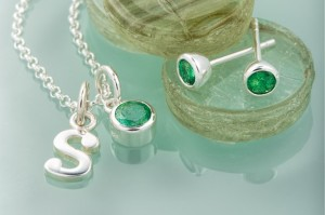 Lily Charmed Emerald necklace_earrings Birthstone range