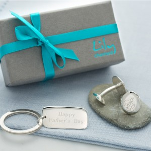 Lily Charmed Silver Engraves Keyring and Monogrammed Cufflinks