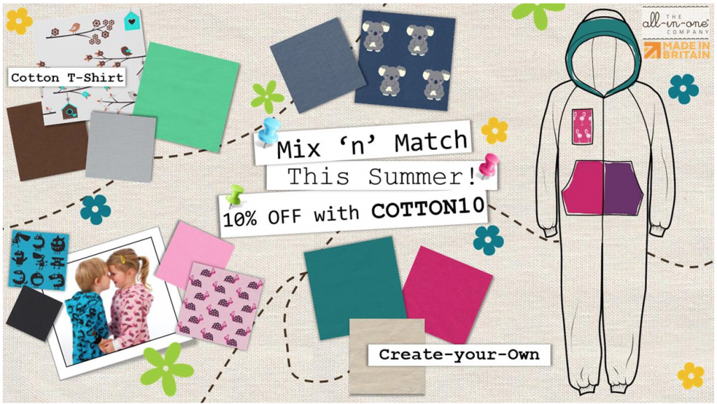 10% off summer cotton onesies at The All-in-One Company