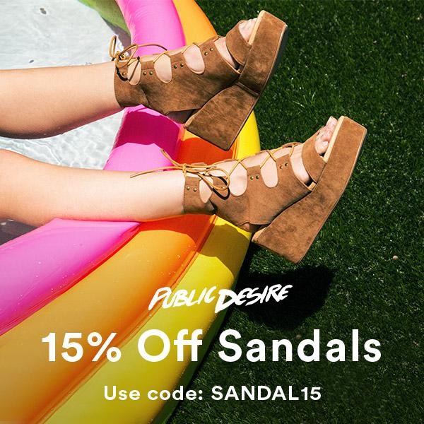 15% off Sandals Public Desire