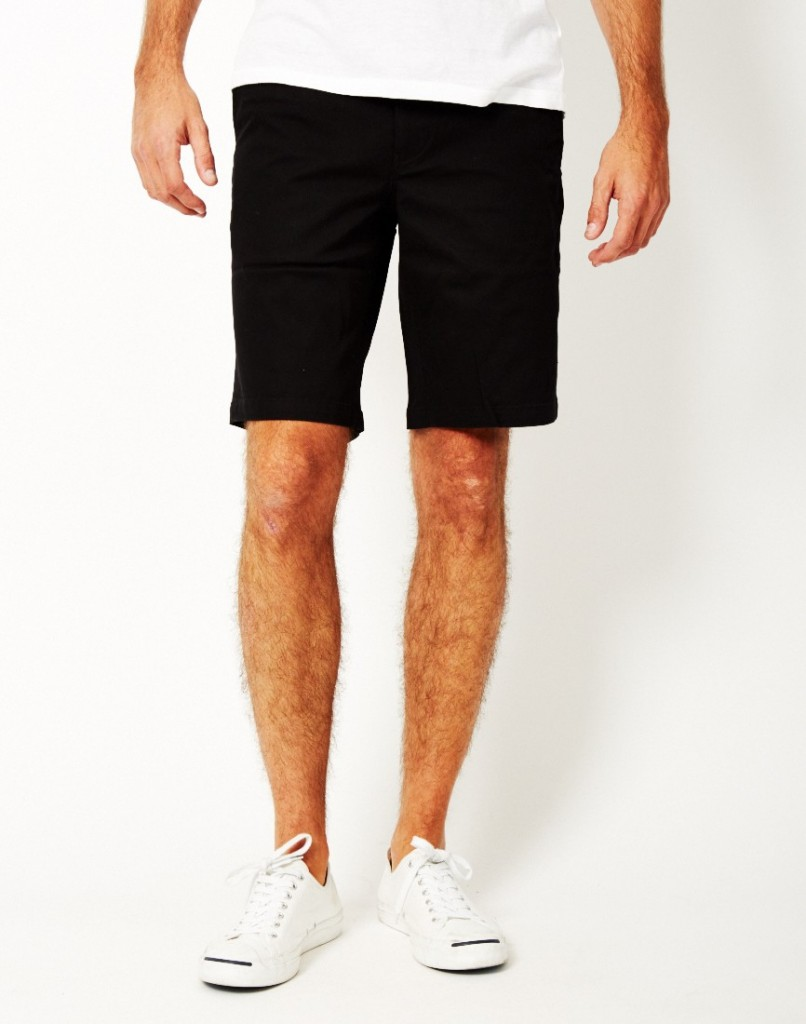 twill black shorts