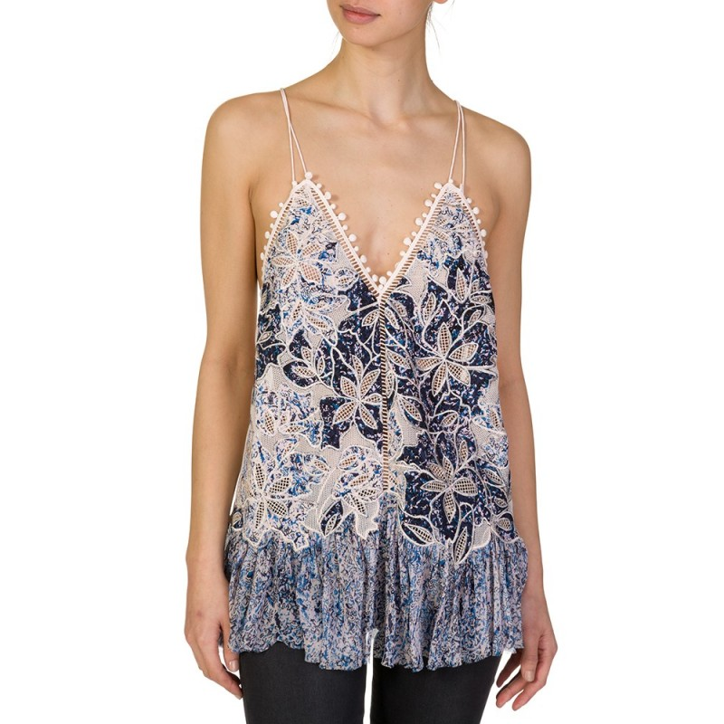 REBECCA TAYLOR BLUE EMBELLISHED FLORAL LACE TASSEL TOP