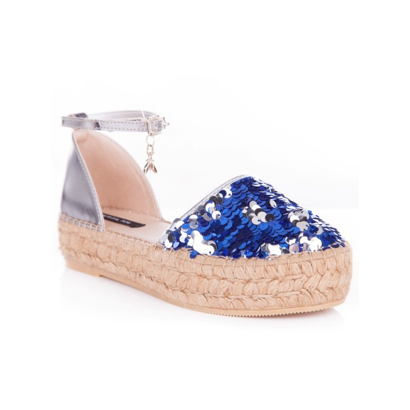 PATRIZA PEPE BLUE SEQUIN EMBELLISHED PLATFORM SHOES