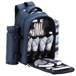 VonShef Picnic Backpack 4 Person Blue