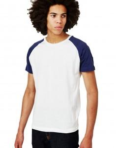 white and blue raglan T