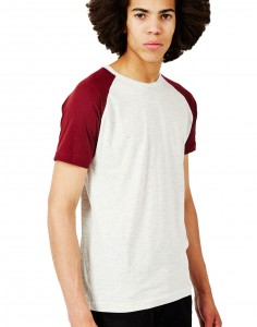 white and burgandy raglan T