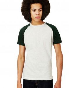 white and green raglan T