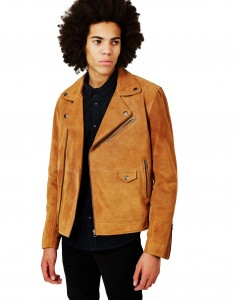 tanned biker suede jacket